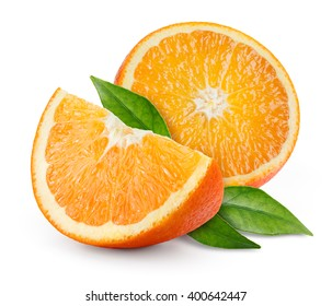 Orange fruit with leaves isolated on white.