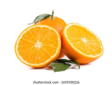 Orange fruit with leaves on white background