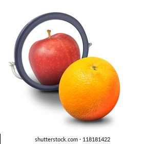 An orange fruit is looking at a mirror and wants to be an apple on a white isolated background.