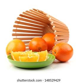 Orange fruit on the white background