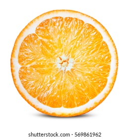 Orange fruit. Round orang slice isolate on white. With clipping path.