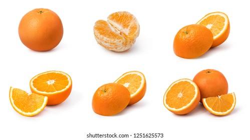 Orange fruit set isolated on white background