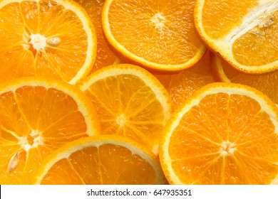 orange fruit slice background on table