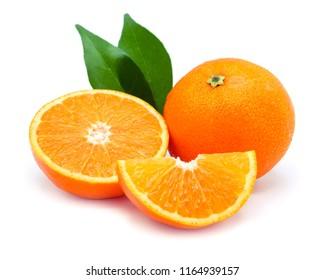 orange fruit and slice isolated on white background.