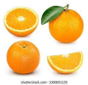 Orange fruit slice isolated on white background. Orange collection Clipping Path