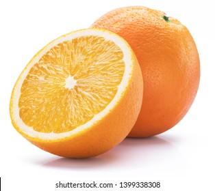 Orange fruit with orange slice isolated on white background.