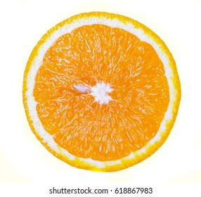 Orange fruit. Orange slice isolated on white background. Top view.