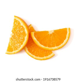 Orange fruit slice layout isolated over white background closeup. Food background. Flat lay, top view.