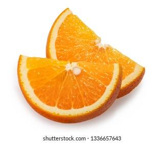 Orange fruit slices white background