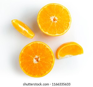 Orange Fruit top view on White Background