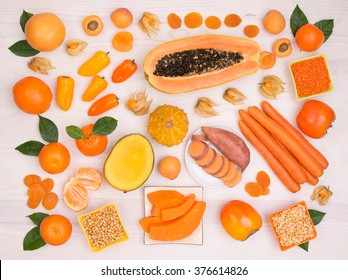 Orange fruit and vegetables containing plenty of beta carotene