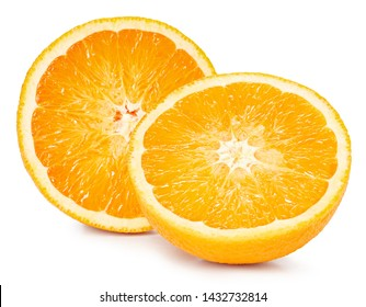 Orange fruits half isolated on white background. Orange Clipping Path. The best photo for your project.