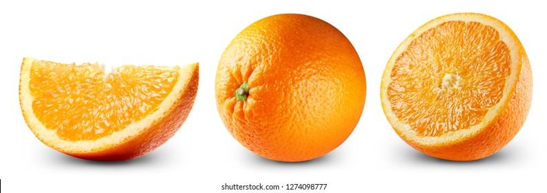 Orange fruits isolated on white background. Orange Clipping Path