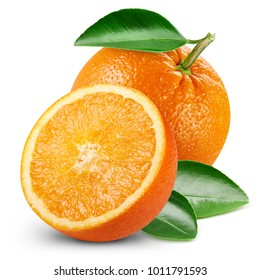 orange fruits with leaf isolated on white background. Clipping Path