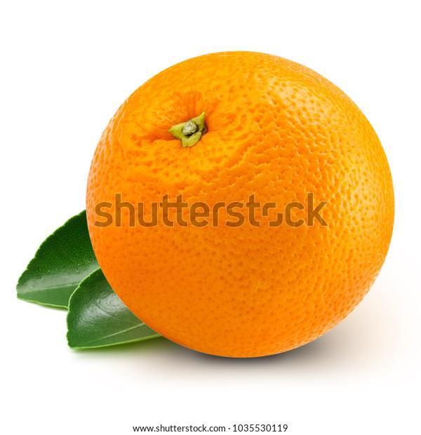 orange fruits with leaf isolated on white background
