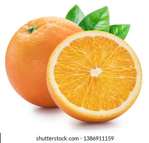 Orange fruits with orange leaves on white background. File contains clipping path.
