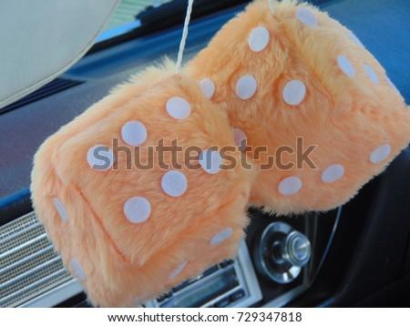 Orange Fuzzy Dice Hanging Rear View Stock Photo Edit Now 729347818
