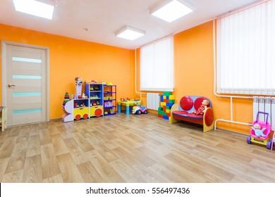 Orange game room in the kindergarten