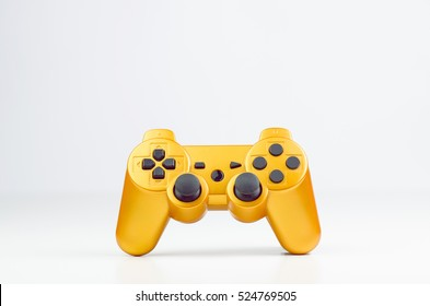 Orange Gaming Wireless Joytsick On White Background