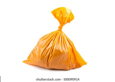 Orange garbage bag isolated on white background