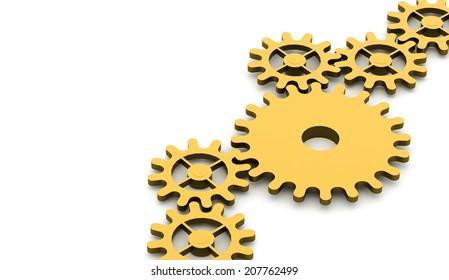 Orange gears mechanism concept rendered
