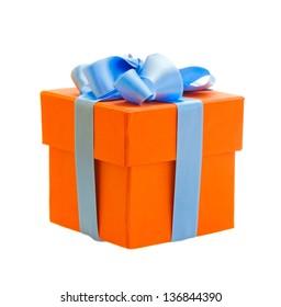 orange gift box with blue ribbon isolated om white background