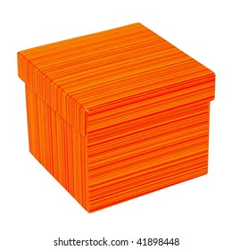 Orange gift box isolated included clipping path