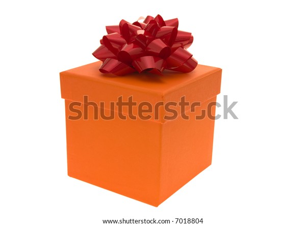 Orange gift box with red bow isolated on white