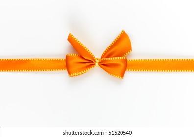 orange gift ribbon isolated on white