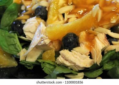 Orange Ginger Glazed Chicken Salad with Spinach, Almonds, Blueberries and Navel Orange Supremes