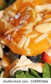 Orange Ginger Glazed Chicken Salad with Spinach, Almonds, Blueberries, Strawberries and Navel Orange Supremes