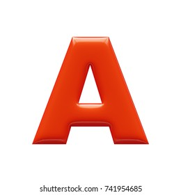 Orange glossy celebrate letter bold and uppercase. 3D rendering font painted with light reflection isolated on white background.