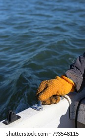 Orange Glove on Boat