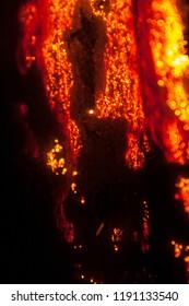 Orange glowing steel wool macro