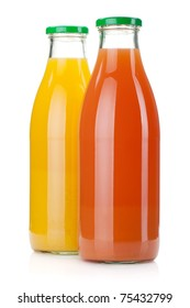 Orange and grapefruit juice bottles. Isolated on white background