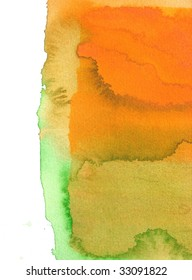 orange and green abstract watercolor background