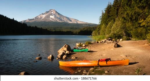 Orange Green Kayaks Shoreline Trillium Lake Mt. Hood Oregon Cascades
