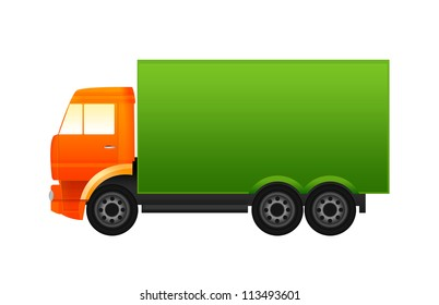 Orange and green truck