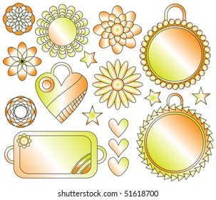 orange, green and white ornaments, flowers and tags