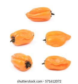 Orange habanero pepper isolated over the white background, set of five different foreshortenings