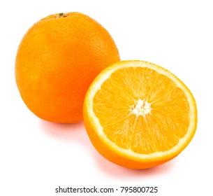 orange with half of orange isolated on the white background.