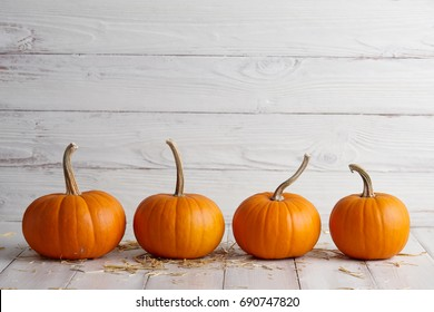 Orange halloween pumpkins on white planks, holiday decoration