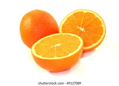 Orange halves on a white background