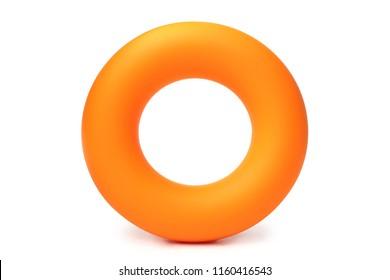 Orange hand ring expander on white background