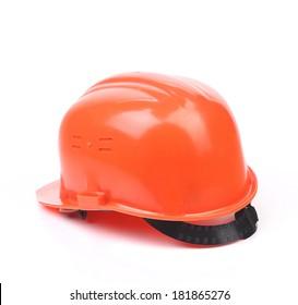 Orange hard hat. Isolated on a white background.