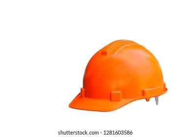 Orange hard safety helmet isolated on white background