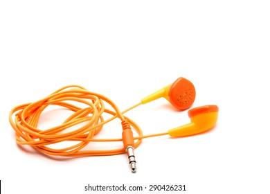 Orange Headphones On Simple White Background