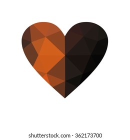 Orange heart isolated on white background. Geometric rumpled triangular low poly origami style gradient graphic illustration. Raster polygonal design for your business.