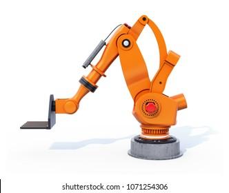 Orange heavyweight robotic arm isolated on white background. 3D rendering image.