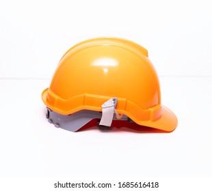 Orange helmet, side angle in a white background